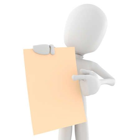 man and banner: 3d man holding a blank sheet of paper Stock Photo