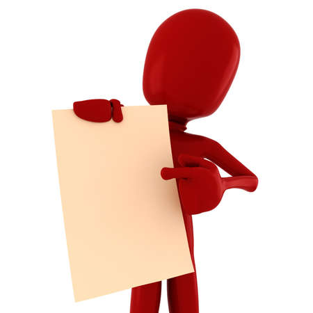 3d man holding a blank sheet of paper Stock Photo - 13119063