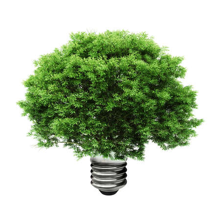 3d tree in a lightbulb, green energy concept photo