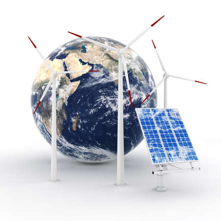 clean energy: 3d green energy concept Stock Photo