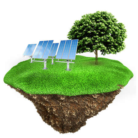 3d green energy concept Stock Photo
