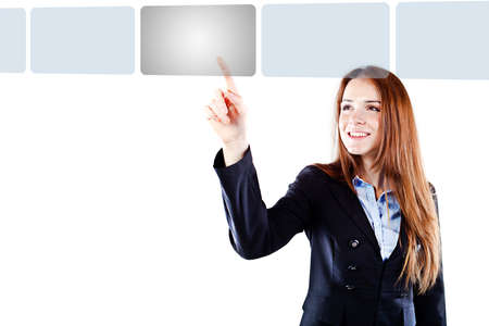 option key: Portrait of a young beautiful  business woman pressing on a virtual button interface (concet pt) Stock Photo