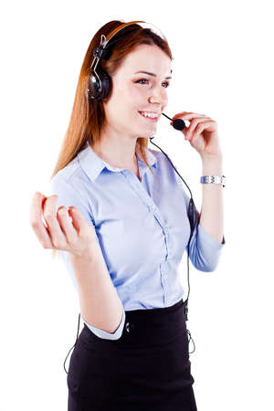 Attractive young  woman call center support photo