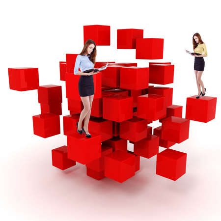 young business woman and a 3d cube maze photo