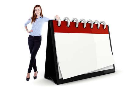 kalender: Attraktive junge Gesch�ftsfrau und ein 3D leerer Kalender ilustration