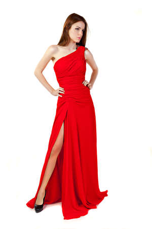 Beautiful woman wearing red dress. Fashion photo. photo