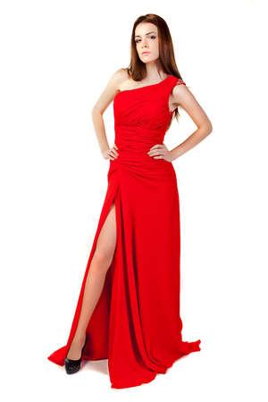 Beautiful woman wearing red dress. Fashion photo. photo