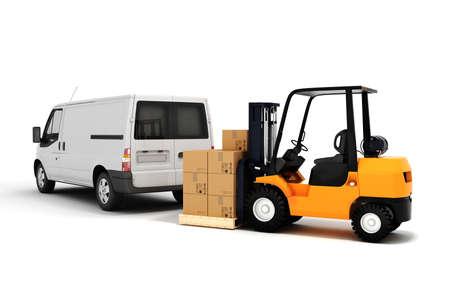 fork lifts trucks: 3d global cargo transport concept