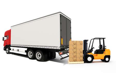 3d de la carga global de concepto de transporte