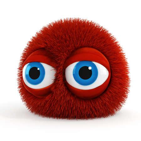 furry animals: 3d criatura esponjosa divertida con grandes ojos azules