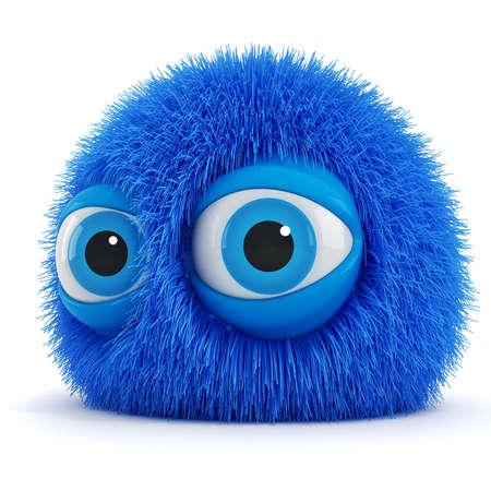 부드러운 털의: 큰 파란 눈을 가진 3 차원 재미 무성한 생물