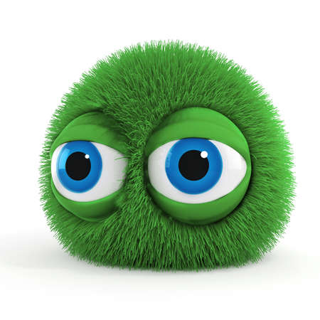 3d funny fluffy creature with big blue eyes Stock Photo - 13835636