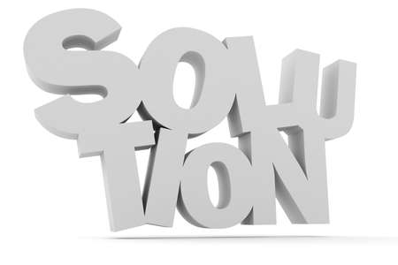 3d solution text, on white background photo