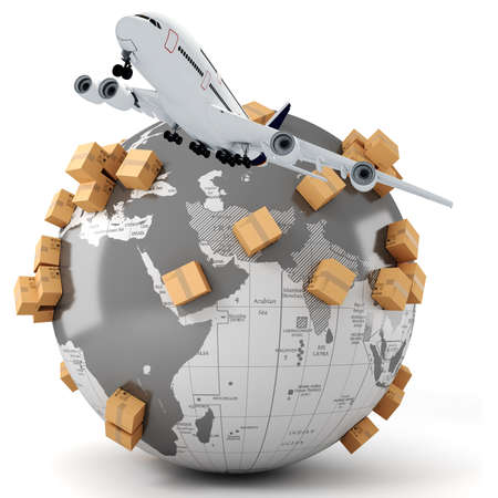 freight transportation: 3d global business commerce concept