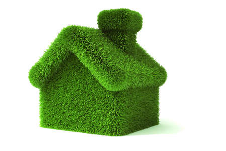 house energy: 3d green grass house, ecology concept Stock Photo