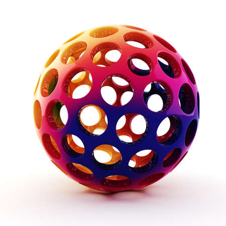 rainbow sphere: 3d rainbow sphere on white background Stock Photo