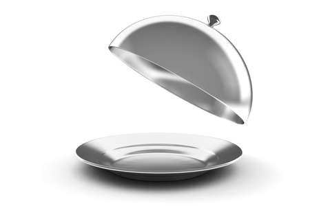 cloche: 3d silver tray on white background