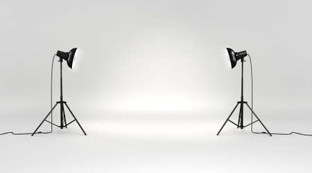 photo studio background: 3d studio set Stock Photo