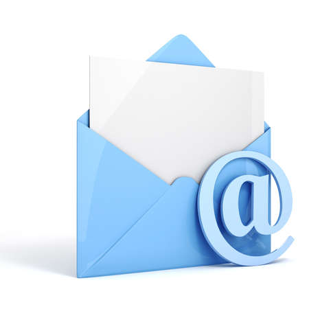 send letter 3d online email on white background concept