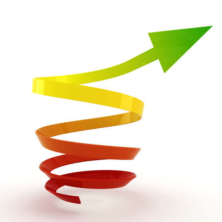 3d arrow pointing up ! Stock Photo - 14327832