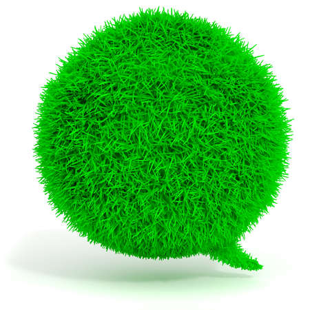 3d green grass bubble talk on white background photo
