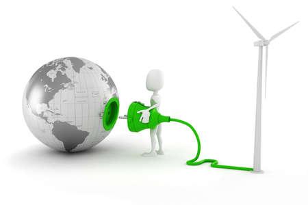 human source: 3d man green energy concept