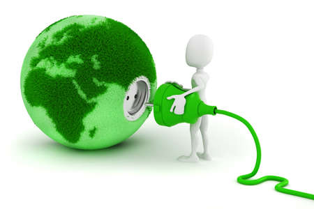 3d man grüne Energiekonzept Standard-Bild - 14526310