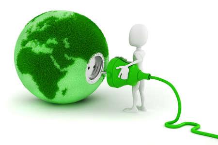 turbina de avion: Hombre 3d concepto de energía verde