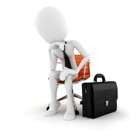 3d man executive sitting in a chair planing the next move , on white background photo