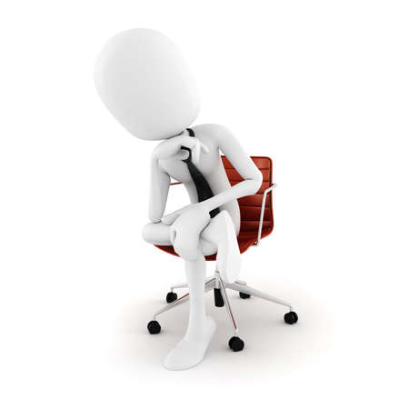 planing: 3d man executive sitting in a chair planing the next move , on white background