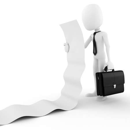 casual business meeting: 3d man business executive  holding a blank list, on white background