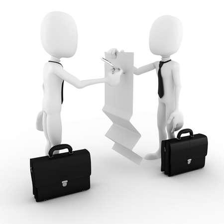 contrato de trabajo: Hombre 3d hombre de negocios de firmar un documento en blanco