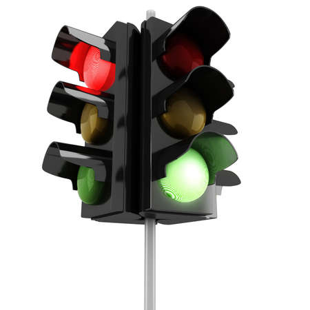 stop and go light: 3d traffic lights on white background Stock Photo