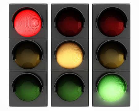 señal de transito: Luces de tráfico 3d sobre fondo blanco Foto de archivo