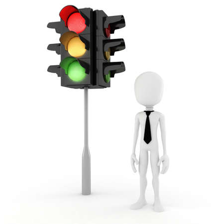 3d man and traffic light Stock Photo