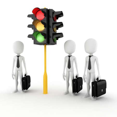 semaphore: 3d man and traffic light Stock Photo