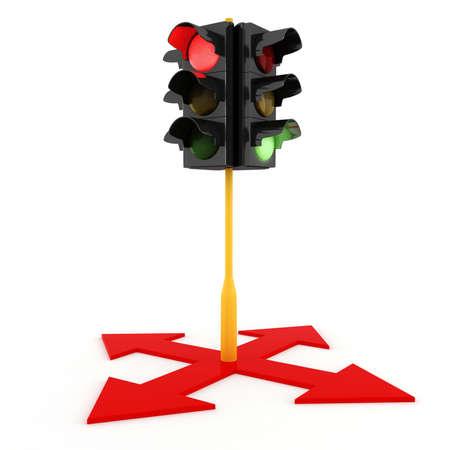 semaphore: 3d traffic lights on white background Stock Photo