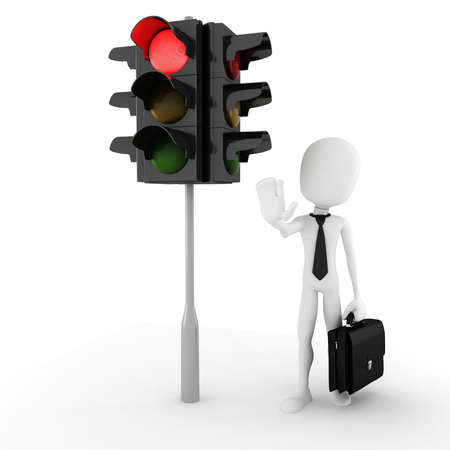 abstract danger: 3d man and traffic light Stock Photo