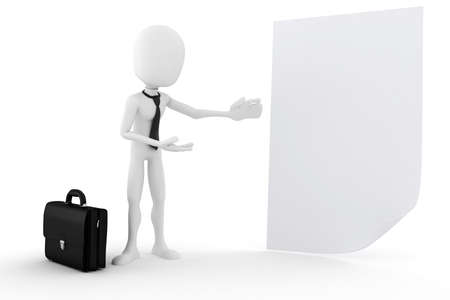 executive board: 3d man presenting a blank document Stock Photo