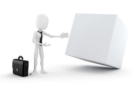 office presentation: 3d man presenting a blank cube