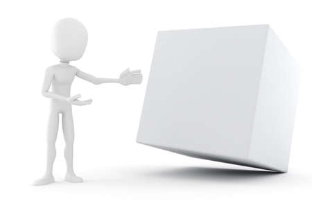 3d man presenting a blank cube Stock Photo - 15201075