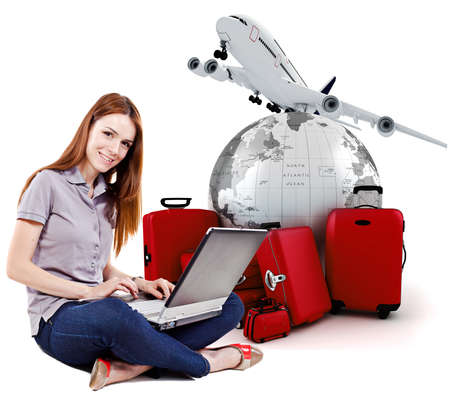 people travelling: beautiful young woman online trip planning with 3d luggage in the background