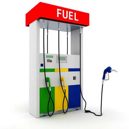 pompe: Distributore di benzina 3d su sfondo bianco