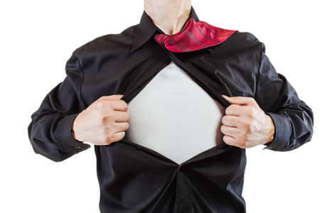 Young business man tearing apart his shirt revealing a superhero suit Stock Photo - 15070764