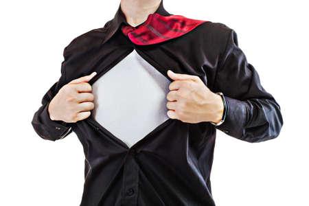 Young business man tearing apart his shirt revealing a superhero suit Stock Photo - 15070763