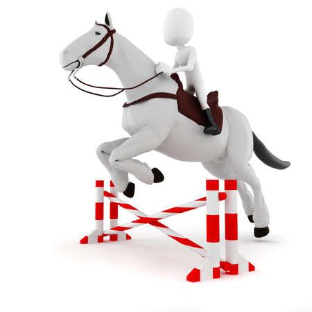 caballo saltando: 3d hombre montado en un caballo Foto de archivo