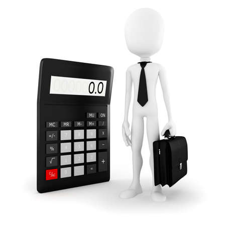 3d man business man standing near a big calculator over white background photo