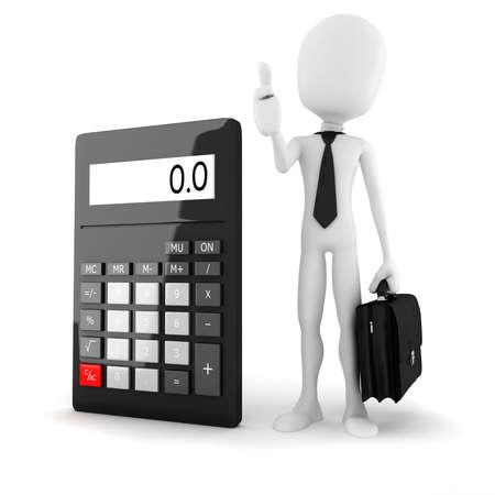 minus: 3d man business man standing near a big calculator over white background
