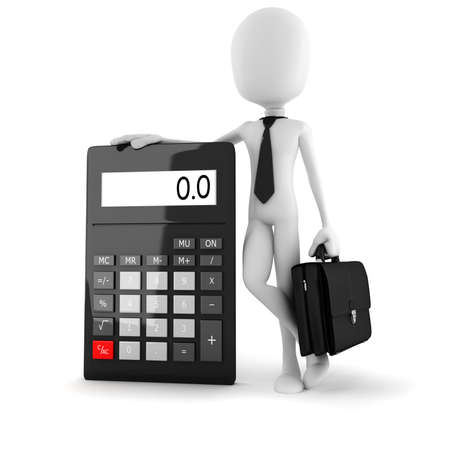 equal to: 3d man business man standing near a big calculator over white background