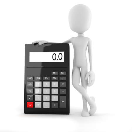 subtraction: 3d man business man standing near a big calculator over white background